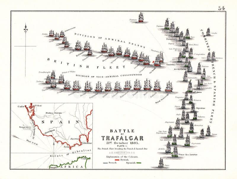 Сражение Trafalgar в начале дня, октябрь 21, 1805 иллюстрация штока