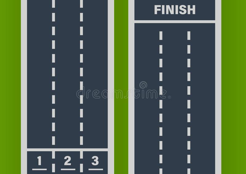 Сразу дорога асфальта улицы, след, след Метки начиная, дорога конца иллюстрация штока