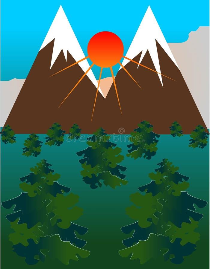 среди гор пущи красотки иллюстрация вектора