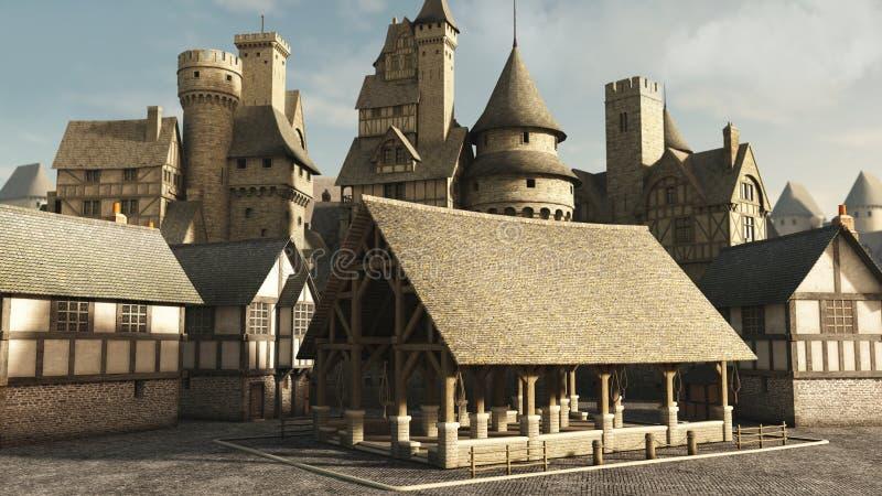Средневековая базарная площадь иллюстрация штока