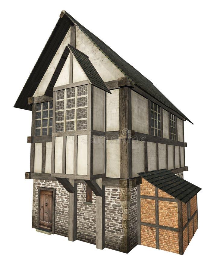 Средневековая дом городка изолированная на белизне иллюстрация штока