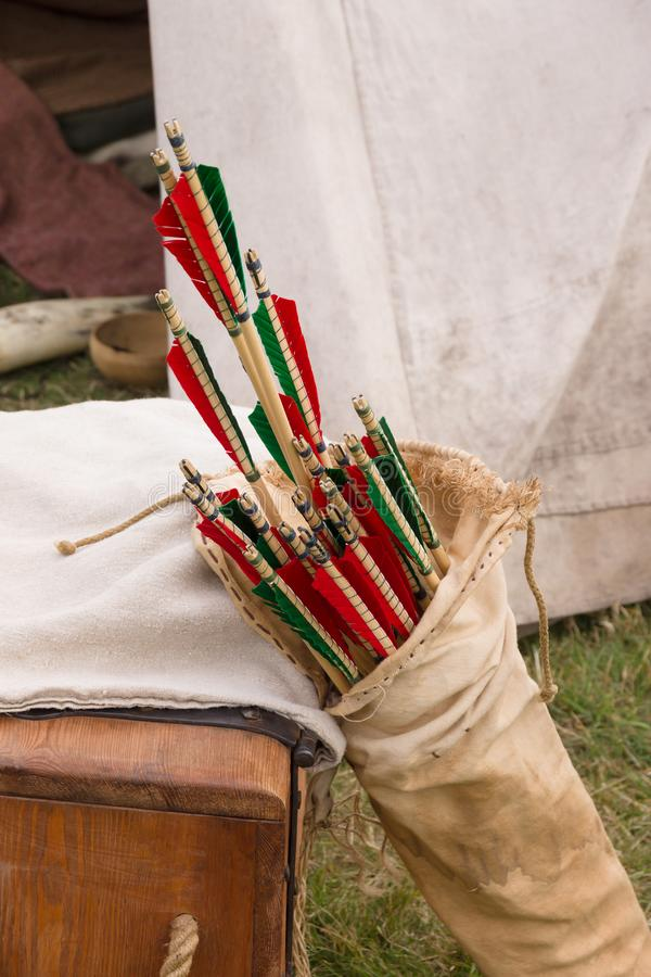 Средневековая стрелка в колчане стоковые изображения rf