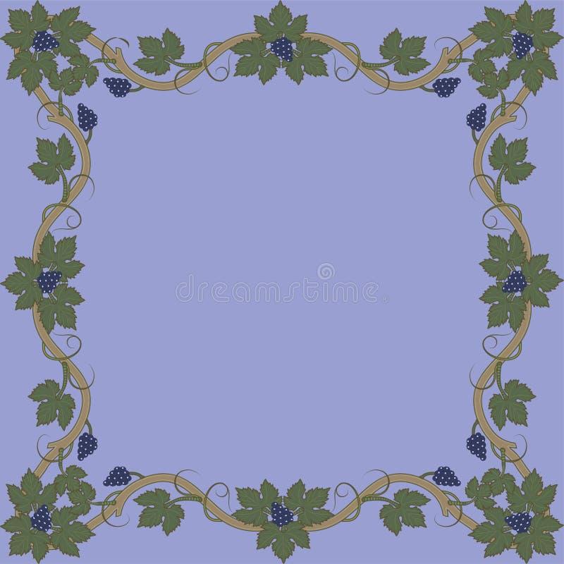 Средневековая флористическая рамка со связкой винограда, листья виноградины, свирли бесплатная иллюстрация