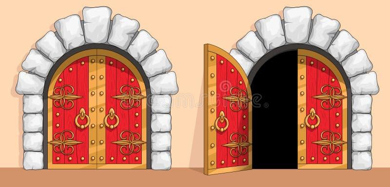 Средневековые красные деревянные ворота украшенные с ковкой чугуна иллюстрация вектора