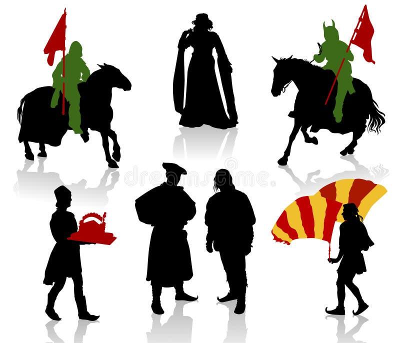 средневековые люди иллюстрация вектора