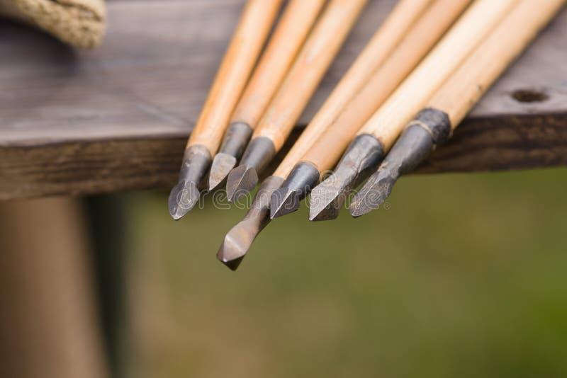 Средневековые наконечники стрелы стоковое изображение rf