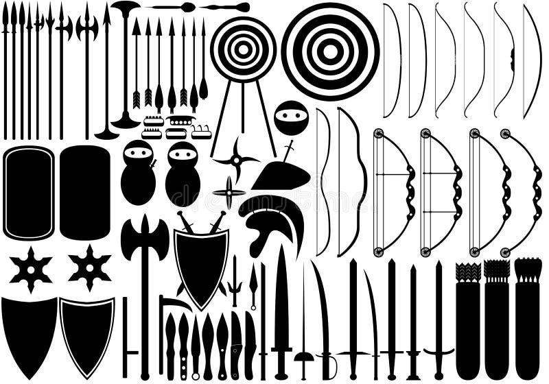 Средневековые оружия иллюстрация штока