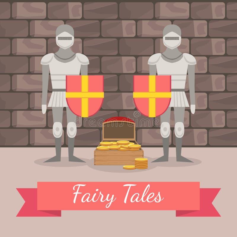 Средневековые рыцарей в панцыре защищая комод золота, шаблона знамени сказок, элемента дизайна можно использовать для иллюстрация вектора