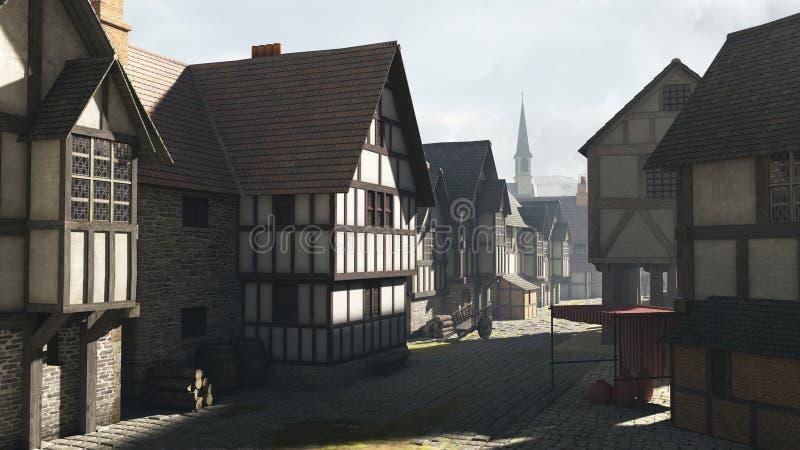 средневековый городок улицы места иллюстрация вектора