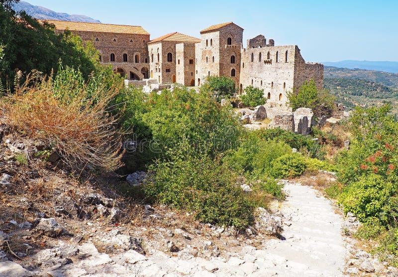 Средневековый дворец на старом месте Mystras, Греции стоковые изображения rf