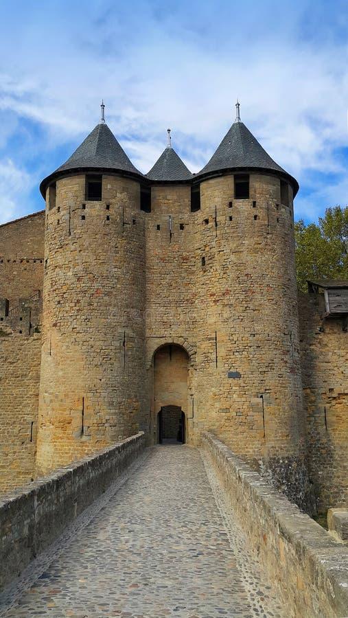 Средневековый замок Каркассона стоковое фото rf