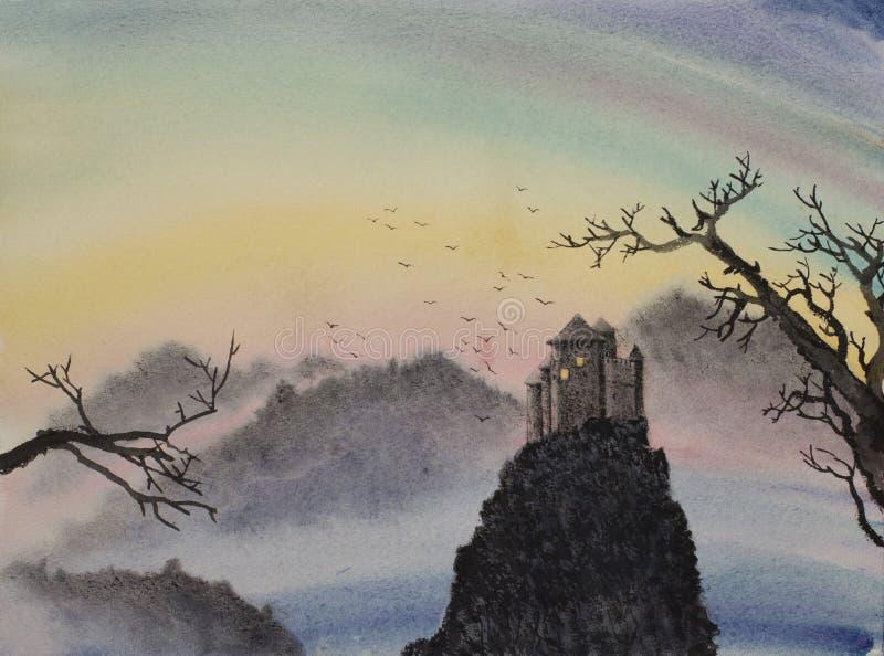 Средневековый замок na górze горы иллюстрация штока