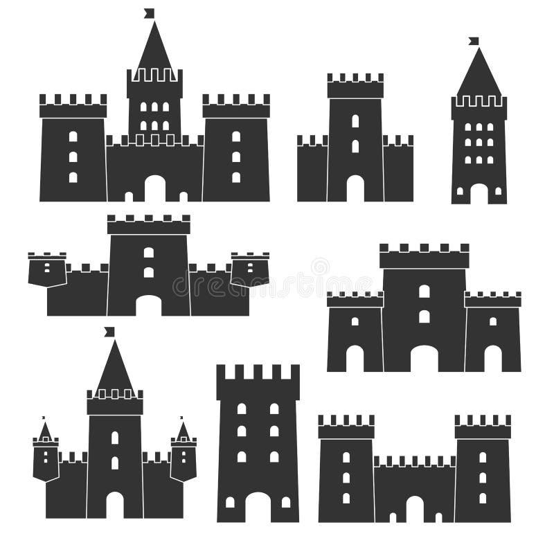 Средневековый комплект вектора значка замка иллюстрация штока