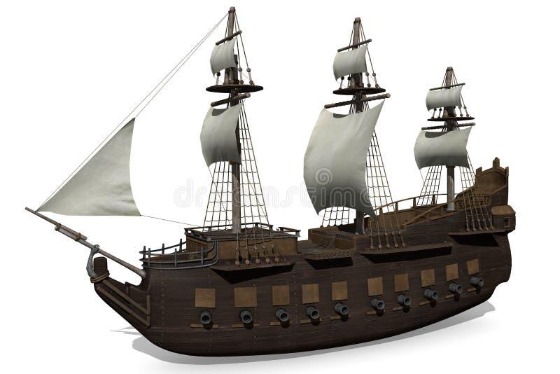 Средневековый корабль иллюстрация штока