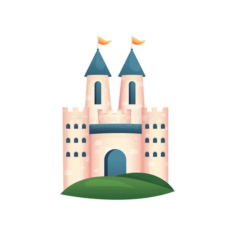 Средневековый королевский замок с голубыми воротами и крышей, желтым флагом бесплатная иллюстрация