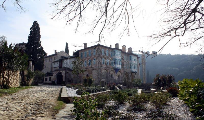 Средневековый монастырь Hilandar на святой горе стоковая фотография rf