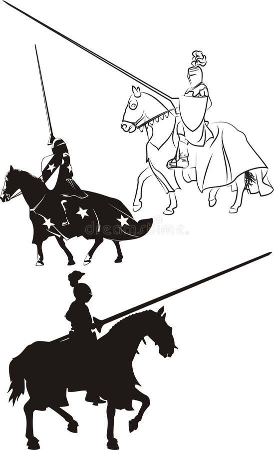 Средневековый рыцарь на horseback - иконе иллюстрация штока