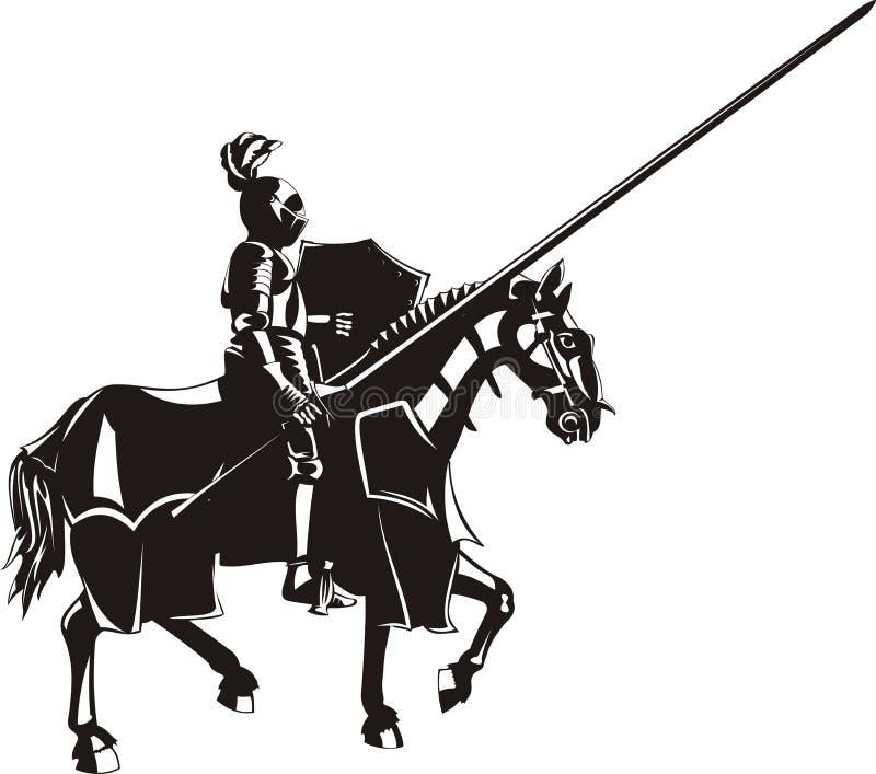 Средневековый рыцарь на horseback иллюстрация вектора