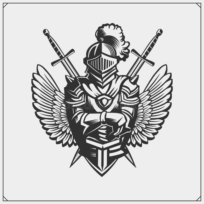 Средневековый рыцарь ратника в эмблеме шлема также вектор иллюстрации притяжки corel иллюстрация вектора