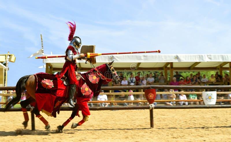 Средневековый установленный рыцарь в панцыре стоковая фотография rf