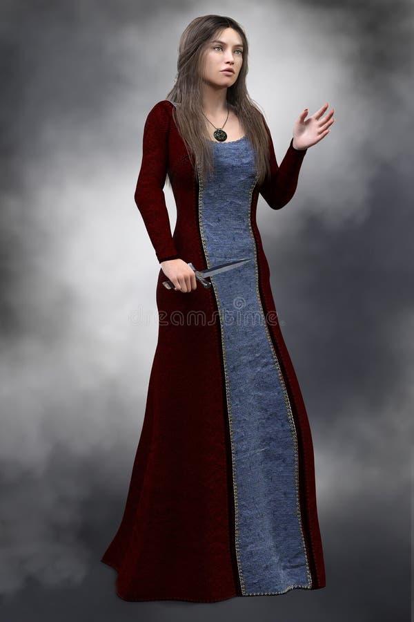 Средневековый ферзь в историческом платье нося церемониальный кинжал, бесплатная иллюстрация