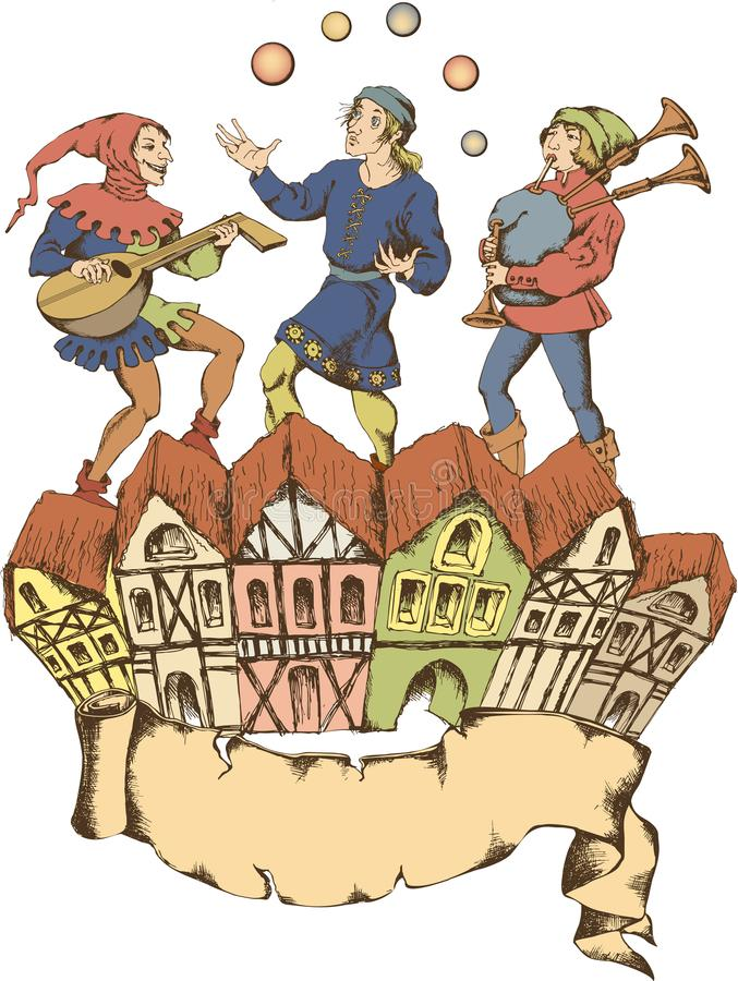 Средневековый juggler Стиль Egraved стоковая фотография