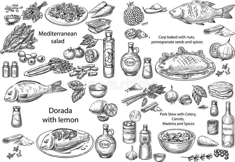 Среднеземноморские блюда иллюстрация вектора