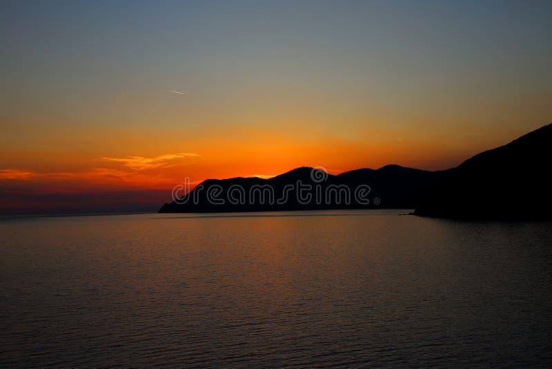 Среднеземноморской заход солнца стоковое изображение