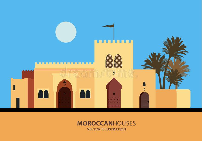Среднеземноморской установленные марокканец или арабские дома стиля иллюстрация штока