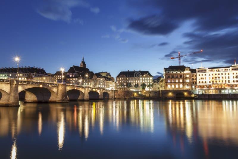 Средний мост над рекой Рейном в Базеле, Швейцарии стоковые фото