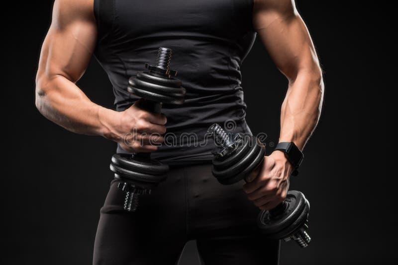 средний раздел мышечного человека держа гантели стоковая фотография