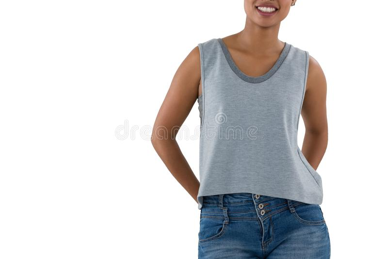 Средний раздел усмехаясь женщины стоковое фото rf