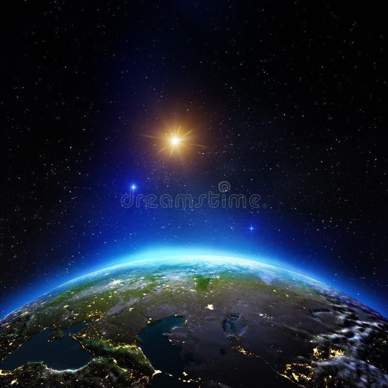 Средняя Азия от космоса стоковые фотографии rf