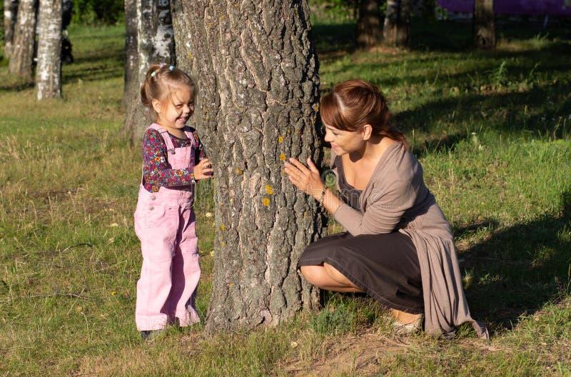 Средняя достигшая возраста женщина играя с маленькой девочкой пряча за деревом в лесе стоковые изображения rf