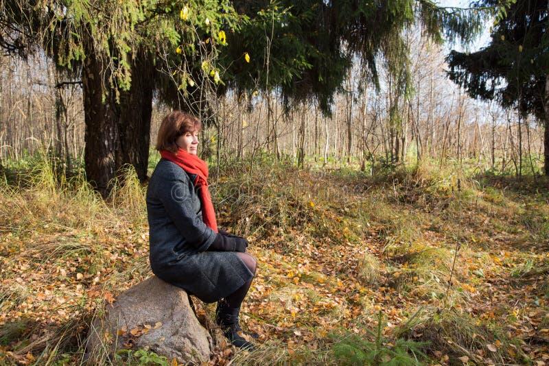 Средн-постаретая женщина сидя на утесе в осени стоковая фотография rf