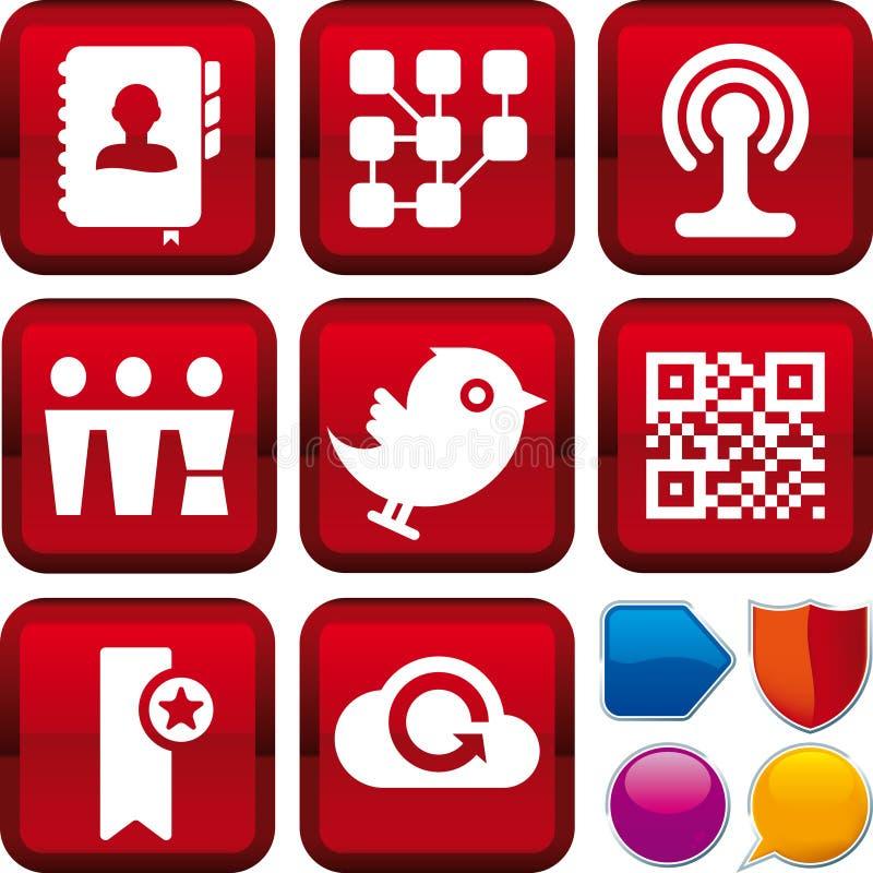 Средства иконы установленные социальные иллюстрация штока