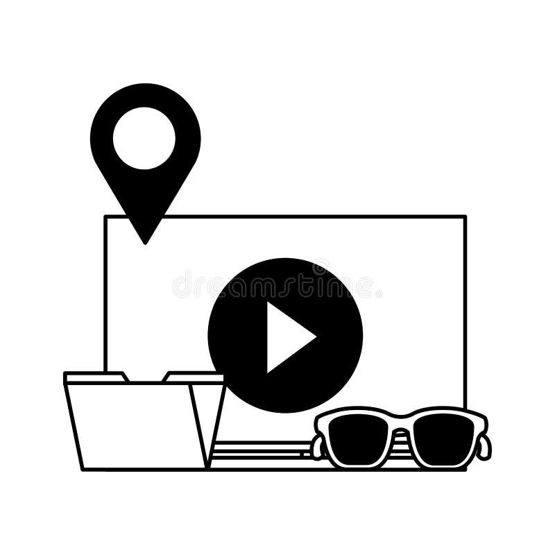 Средства массовой информации видео- интернета содержания электронной почты папки социальные иллюстрация штока