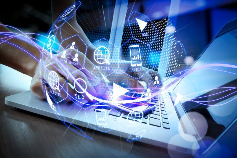 Средства массовой информации маркетинга цифров (объявление вебсайта, электронная почта, социальная сеть, SEO, иллюстрация вектора