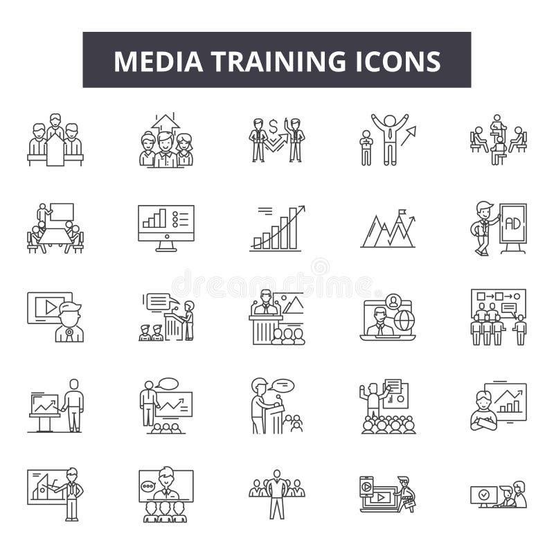 Средства массовой информации тренируя линию значки, знаки, набор вектора, концепцию иллюстрации плана иллюстрация вектора
