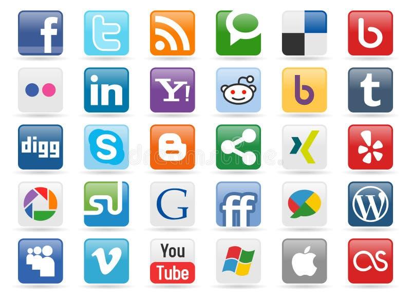 средства 1 кнопки социальные иллюстрация вектора