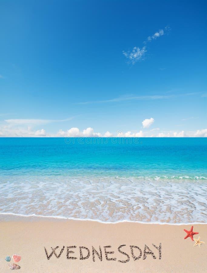 Среда на тропическом пляже под облаками стоковые изображения