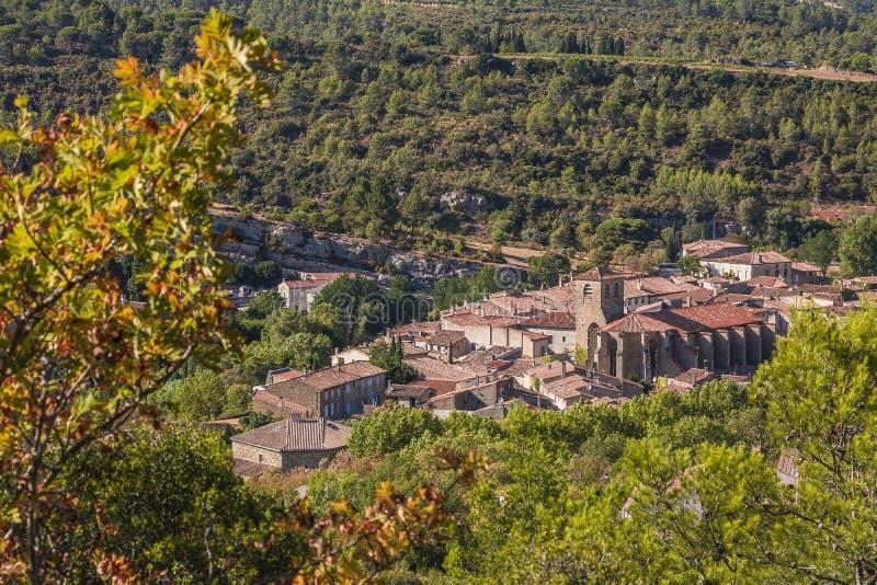 Средневековая деревня Lagrasse, Франции стоковые фото