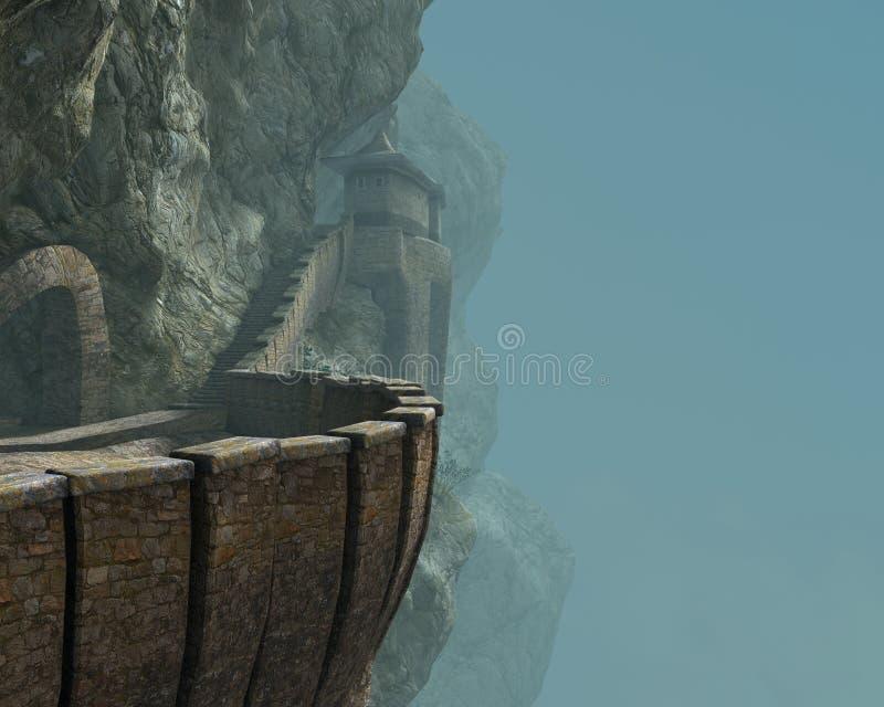 Средневековая иллюстрация скалы горы замка иллюстрация вектора
