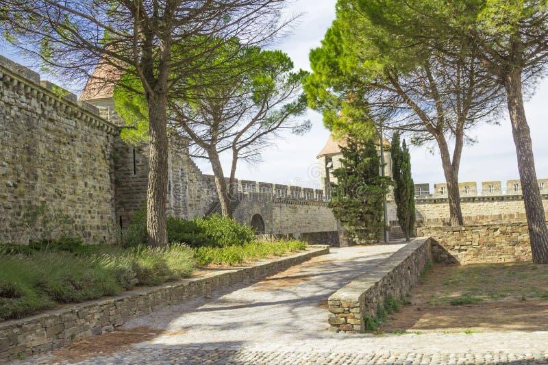 Средневековая крепость Каркассона стоковое фото