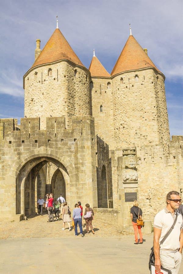 Средневековая крепость Каркассона стоковые изображения