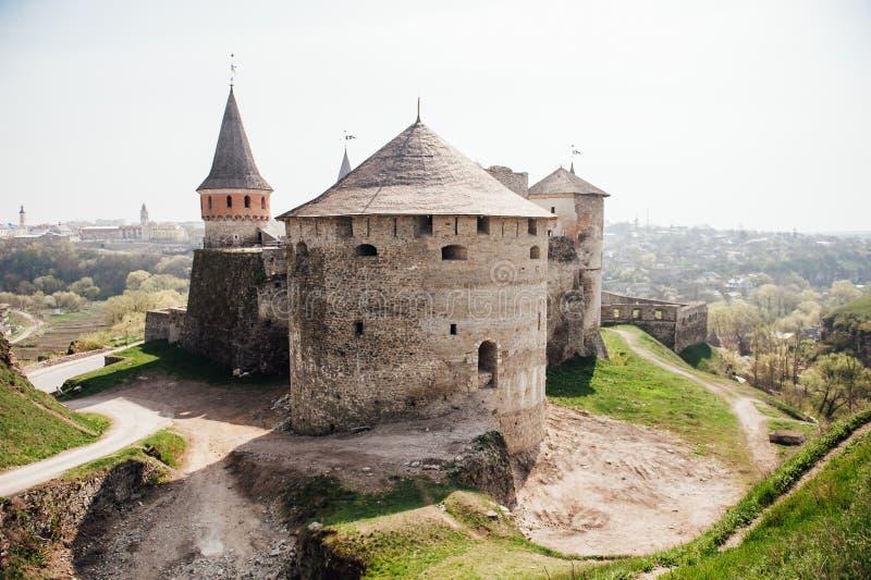 Средневековая крепость Kamenetz-Podolsk Украина замка стоковые фотографии rf