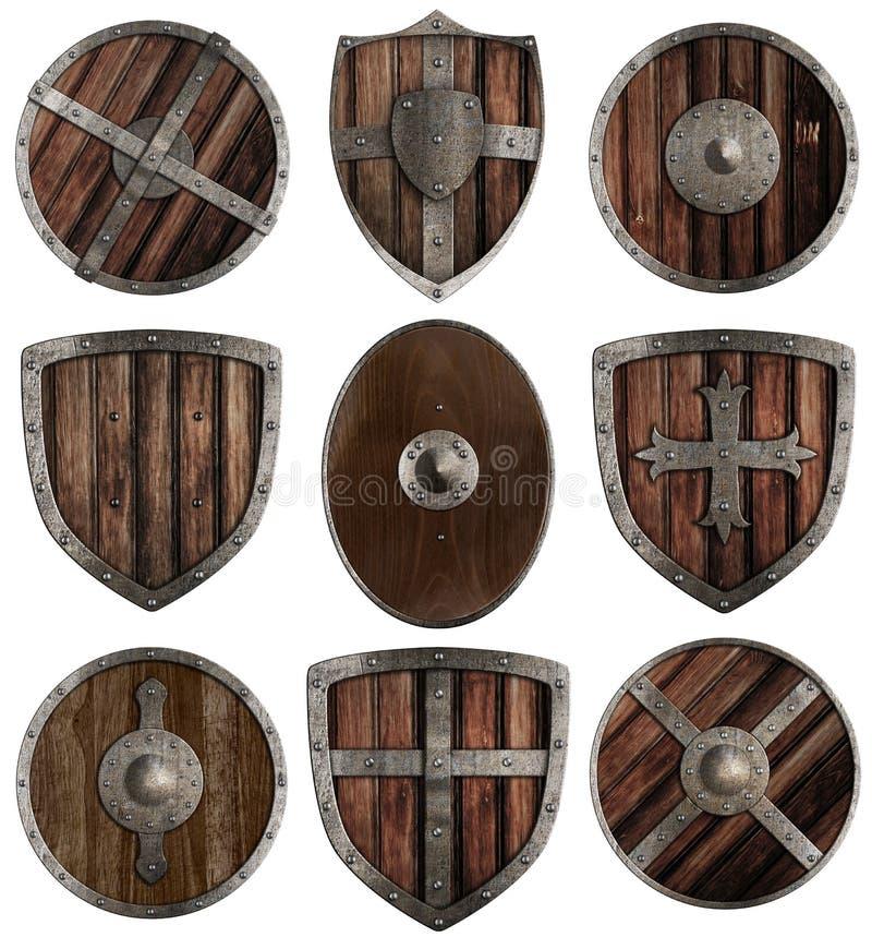 Средневековое деревянное изолированное собрание экранов стоковые фотографии rf