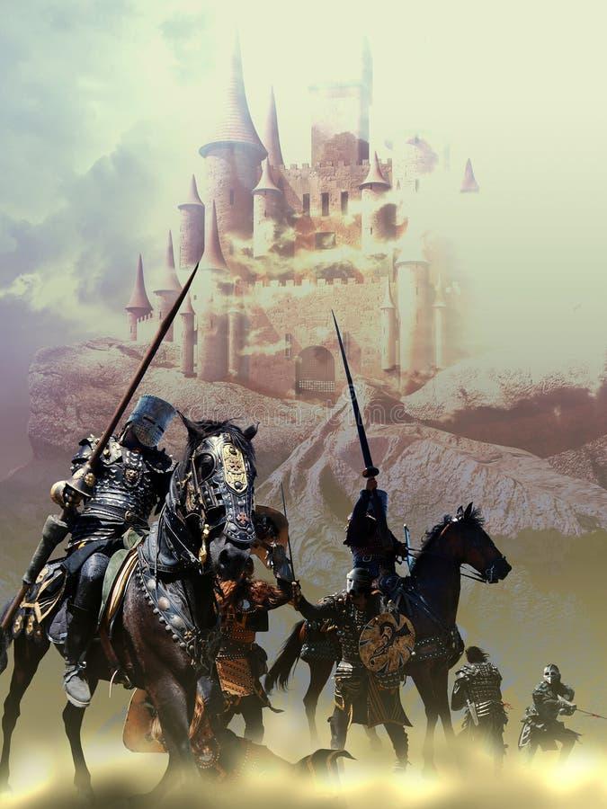 Средневековое сражение иллюстрация штока