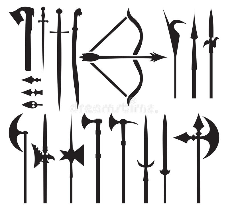 Средневековые значки оружия иллюстрация штока