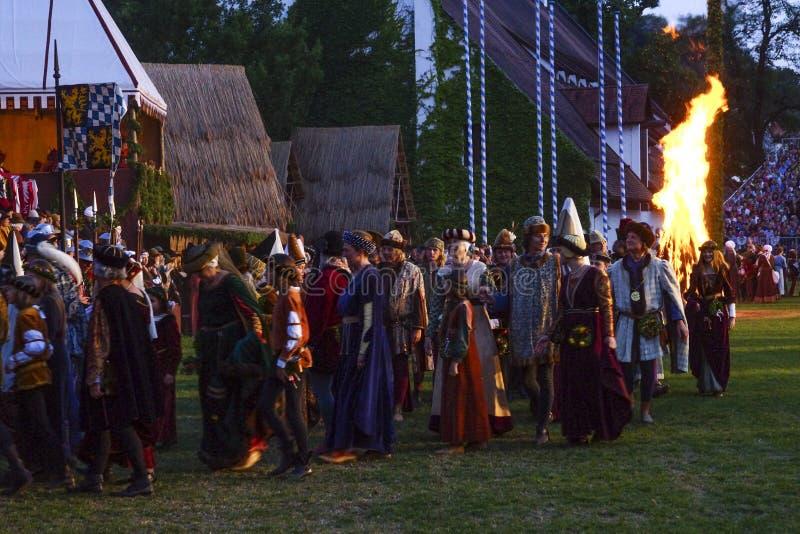 Средневековые игры свадьба Landshut стоковые изображения rf